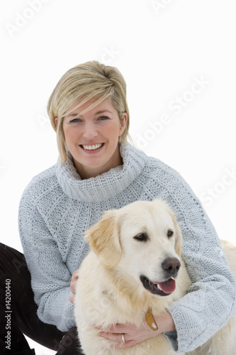 woman with labrador dog, cut out