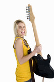 girl holding electric guitar, cut out