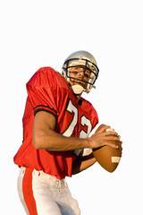 american football player holding american football, cut out