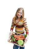 woman holding basket of vegetables, cut out