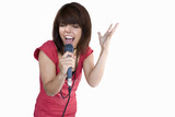 girl singing into microphone, cut out