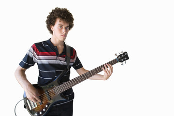 young man playing guitar, cut out