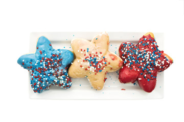 Patriotic doughnuts isolated with clipping path.