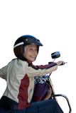 senior woman on motorcycle, cut out