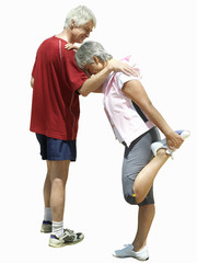 senior couple doing exercise, stretching, cut out