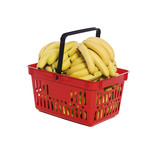 Shopping basket with bananas towards white background