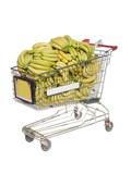 Shopping cart with bananas isolated towards white background