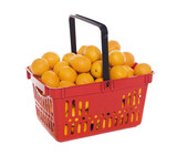 Shopping basket with oranges isolated towards white background
