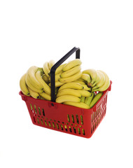 Shopping basket with bananas isolated towards white background