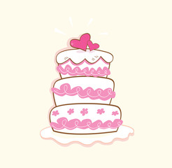 Wedding cake. Pink decorative sweet cake. Vector Illustration.