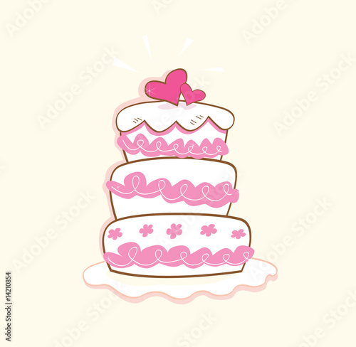 Wedding cake. Pink decorative sweet cake. Vector Illustration.