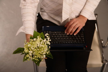 girl, laptop, and flowers
