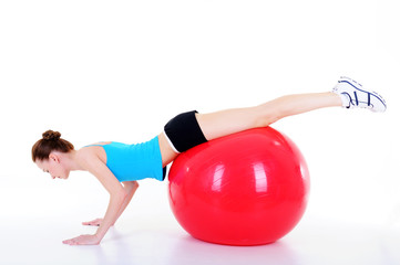 doing gymnastics with fitball