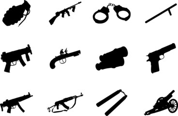 Guns. Set of 12 vector for web