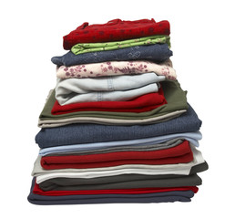 stack of clothing shirts