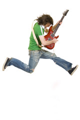 long hair guitarist jumps
