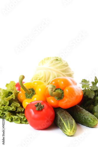 Fresh vegetables on white background