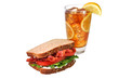BLT Sandwich, Iced Tea, Isolated, Clipping Path