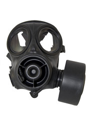 gas mask fitted with filter canister