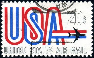 USA. United States Air Mail. Timbre postal oblitéré.