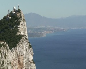Close up of Spain zooming out to reveal Rock of Gibraltar