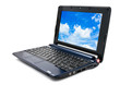 Modern and stylish laptop computer with blue cloudy sky wallpape