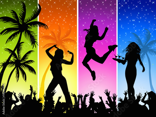 Summer night disco-party on a four-color background