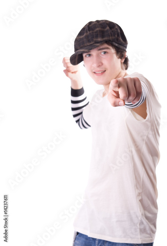 Teen pointing directly at you
