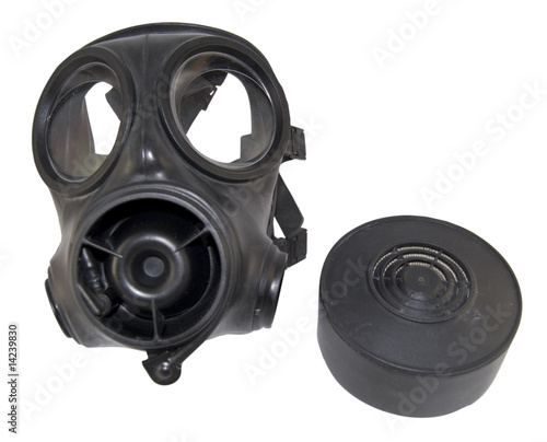gas mask with canister removed isolated on white