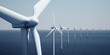 canvas print picture - Windturbines on the ocean