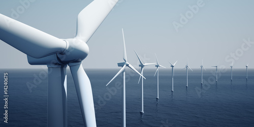 canvas print picture Windturbines on the ocean