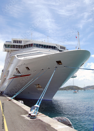 cruise Ship Moored at the Pier in St.Thomas