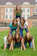 Group of College Girls In Pyramid