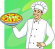 Vector illustration of cook with pizza