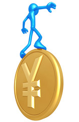 Balancing On Gold Yen Coin