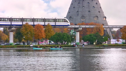 monorail in autumn Moscow