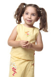Pretty smiling little girl with ponytails poster