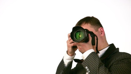 businessman with digital photo camera face