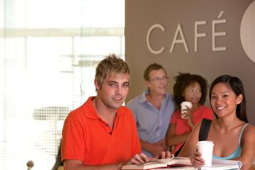 Students taking coffee break