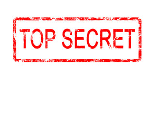 TOP SECRET rubber stamp, red against white area of copyspace.