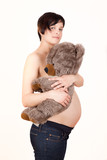 teddy tummy holding pregnant woman awaiting baby poster