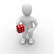 Man giving red dice with six on top. 3d rendered illustration.