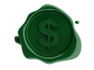 Green wax dollar symbol