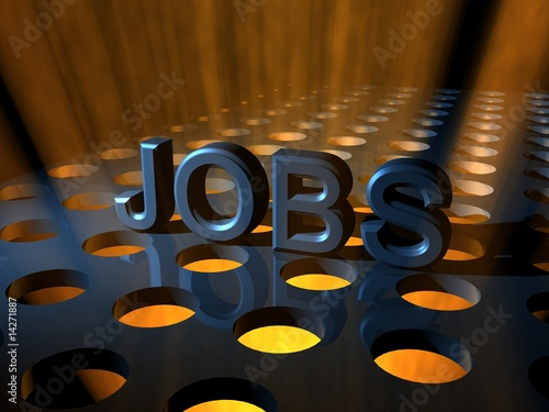 Jobs 3D Text Spotlights Under Dark Background