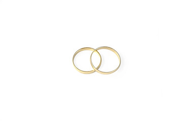 Wedding rings isolated over white with clipping path.