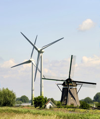 wind turbines and traditional Dutch windmill