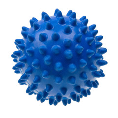 Close-up blue massage ball isolated on white