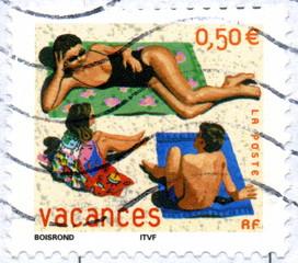 France. Vacances. timbre postal oblitéré.