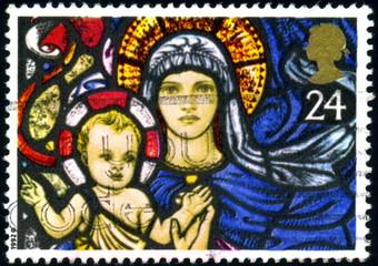 United Kingdom. Vitrail, Vierge et enfant. Timbre postal.
