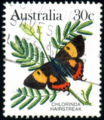 Australia. Chlorinda Hairstreak. Timbre postal.